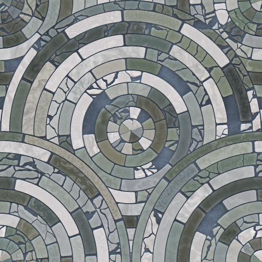 Radial Mosaic Tiles Texture