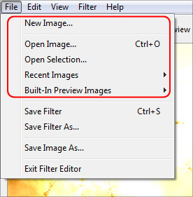 The File menu of the Filter Editor
