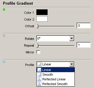 The predefined transitions of a Profile Gradient.