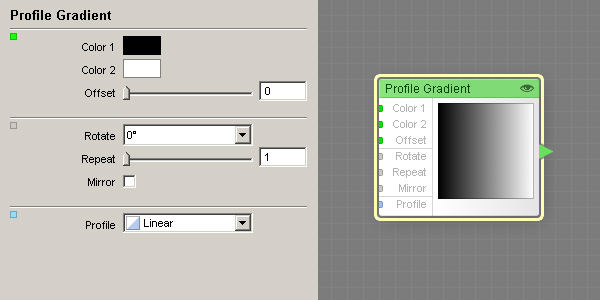 A Profile Gradient component and its properties within the Filter Editor.